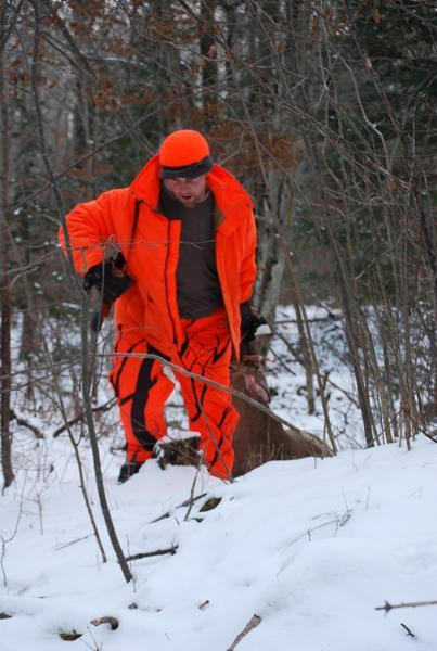 The standard deer-dragging technique.
