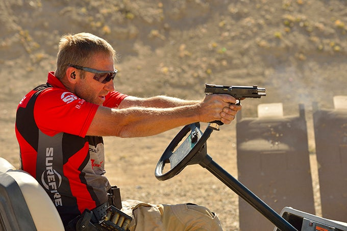 shooter aiming a handgun
