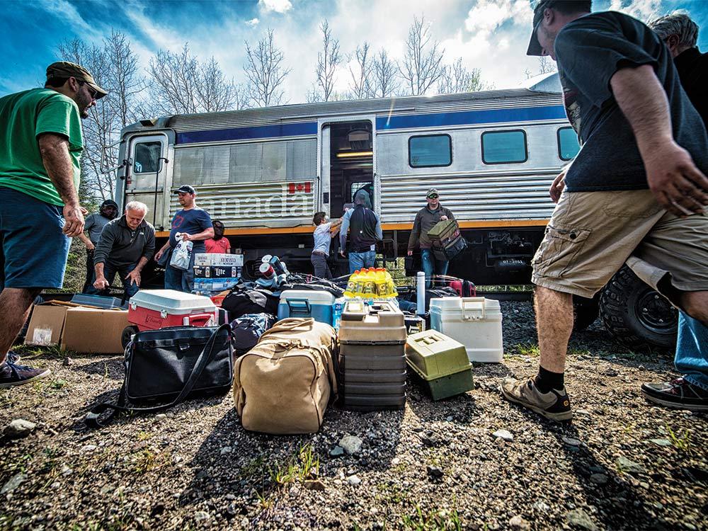 anglers loading train