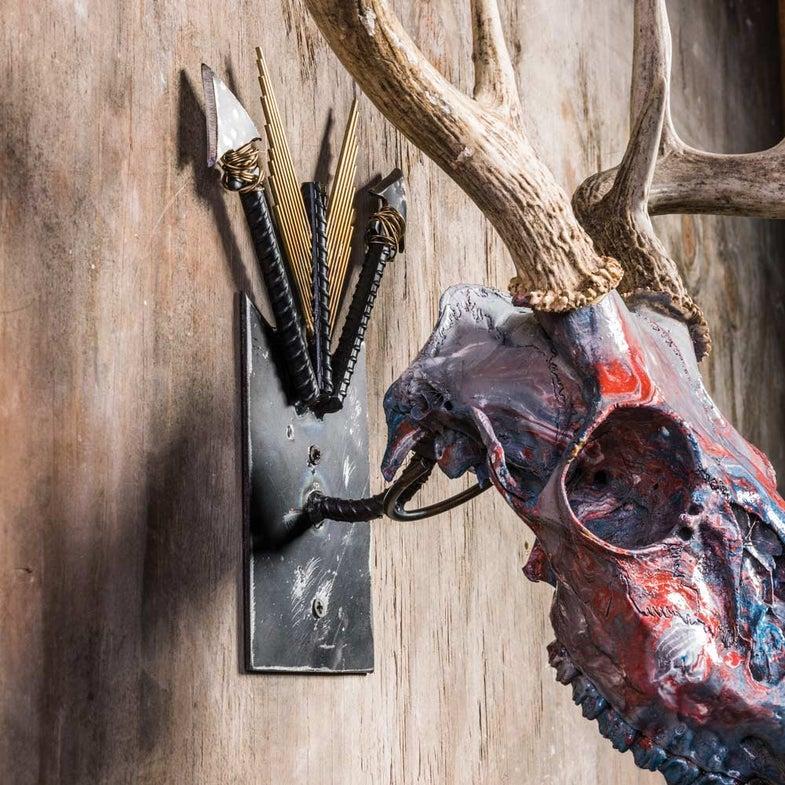 metal deer skull wall hanger