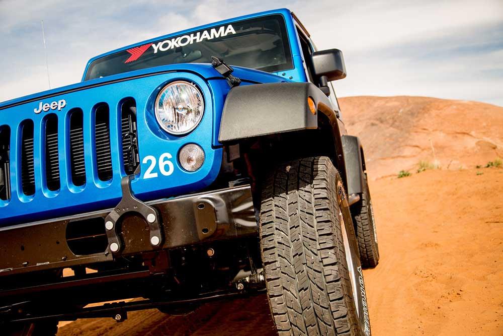 blue jeep with yokohama tires