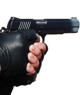 gloved handgun holding