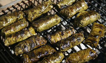 How to Make Grilled Grape-Leaf Wrapped Bison Rolls