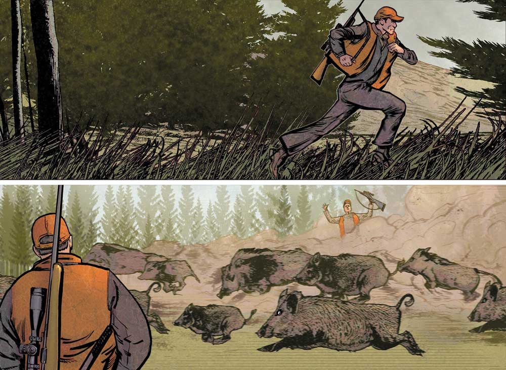 illustration of hogs stampeding near two hunters