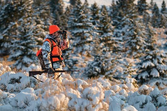hunter glassing winter snow