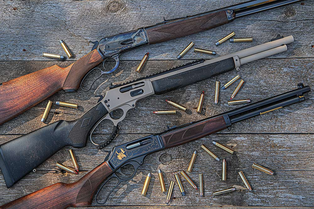 Winchester, Marlin, and Henry Steel guns with .45/70 ammunition