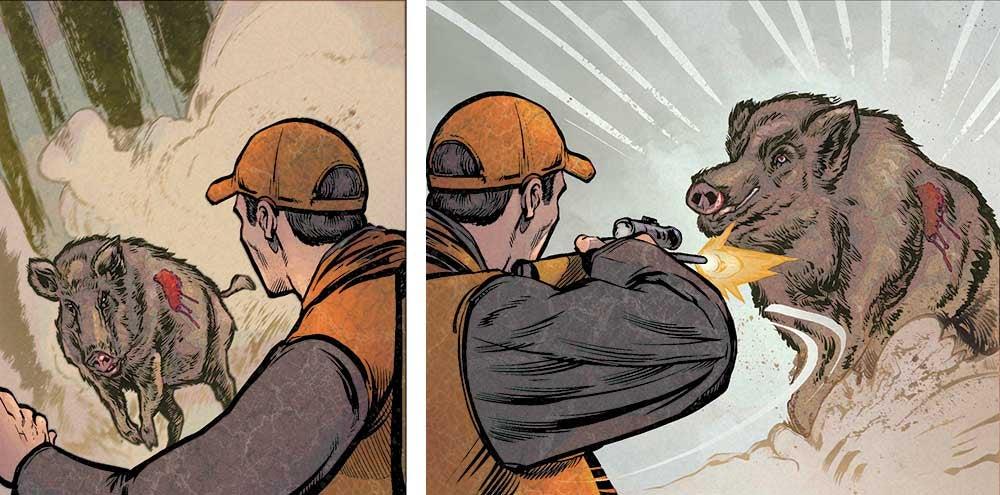 illustration of running hog being shot by hunter