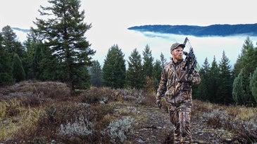 Idaho bowhunter listening for bugling bull