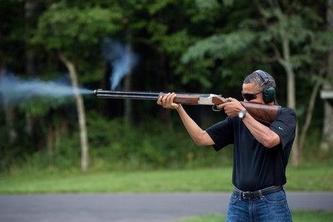 barack, obama, gun, NRA, skeet, rifle