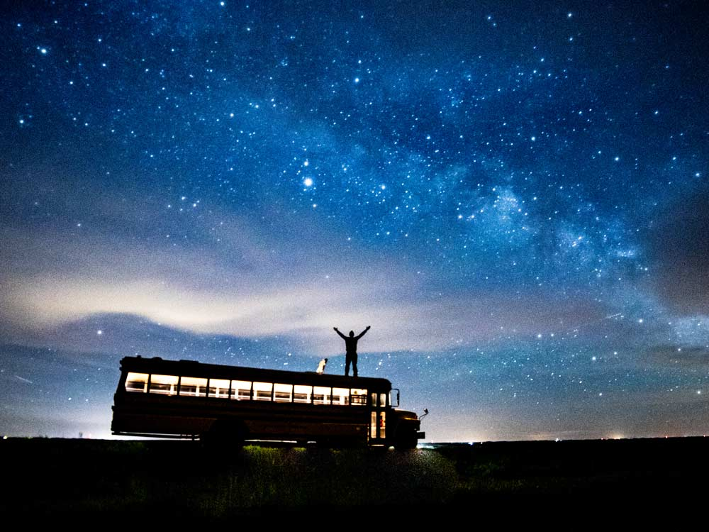 Sam Holot Bus Hunting Lodge Night sky