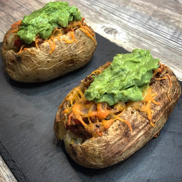 loaded baked potatoes with venison