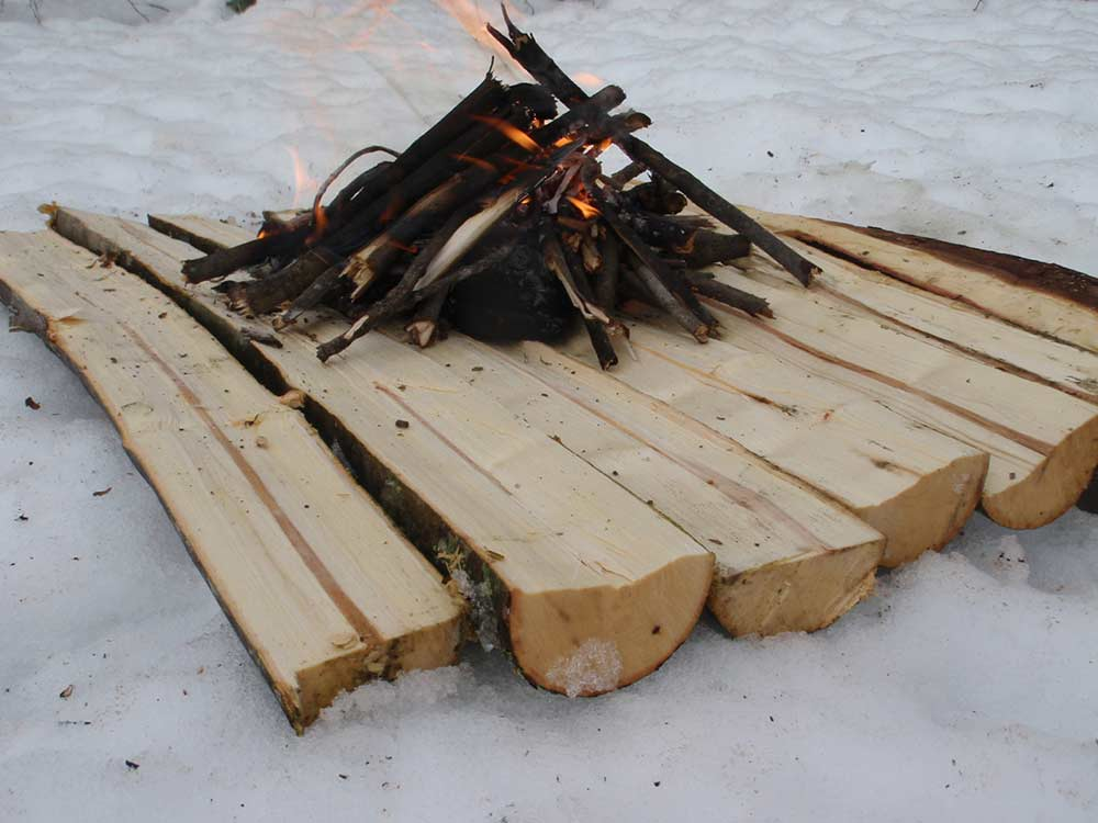 building fire in a snow