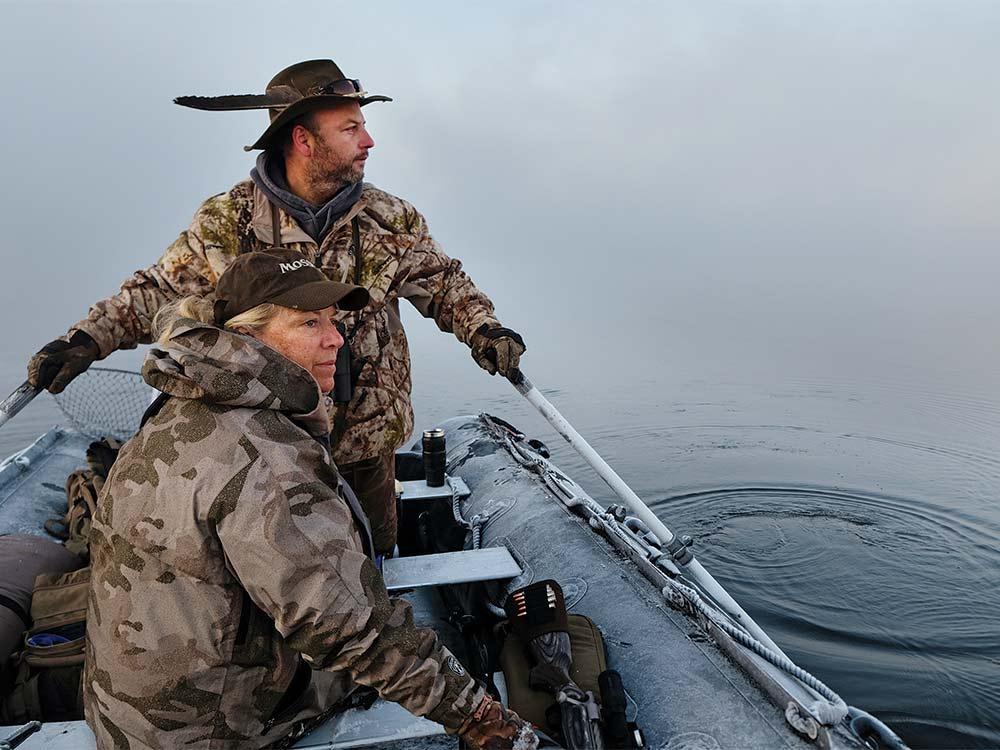 marty clark moose hunters on a boat