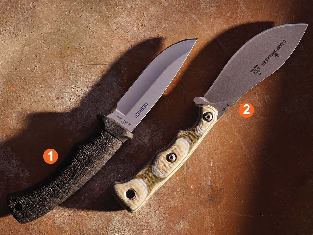 gerber gator drop point and top knives