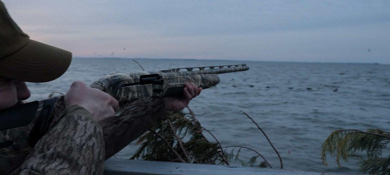 hunter aiming shotgun at sea ducks