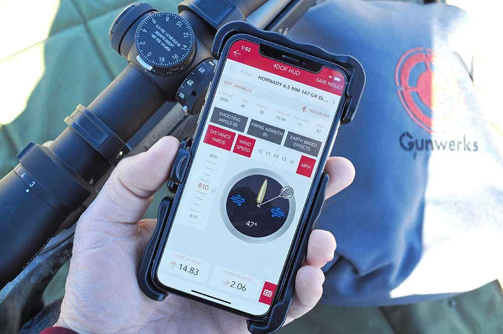 cell phone showing ballistics data application