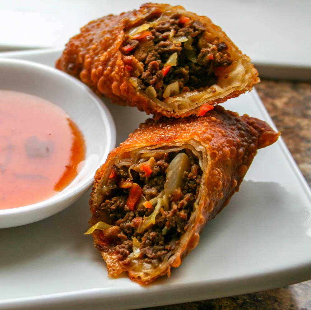 wild game meat egg rolls
