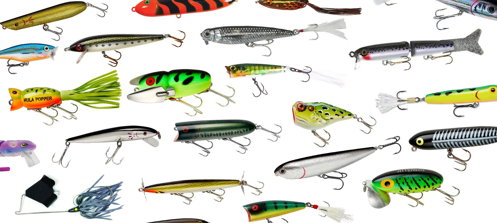 collage of topwater fishing lures