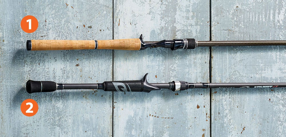 two fishing rods on a wooden background