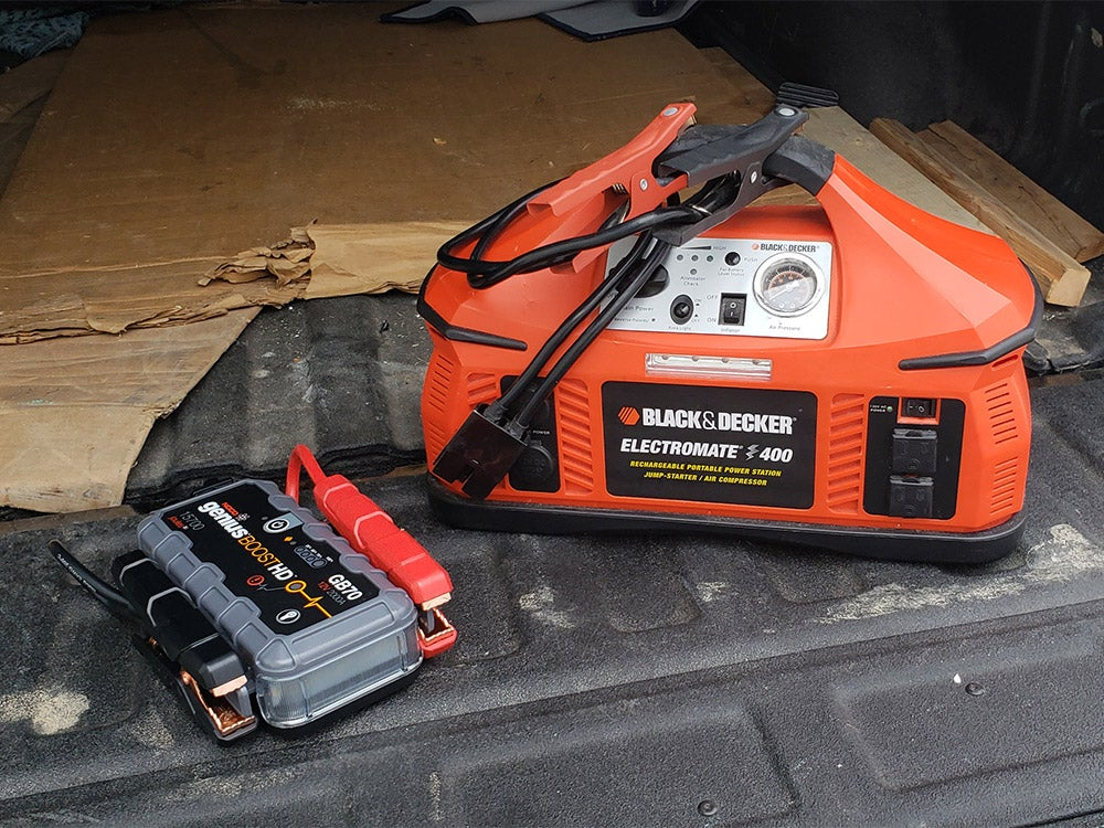 two different jump boxes for battery starting
