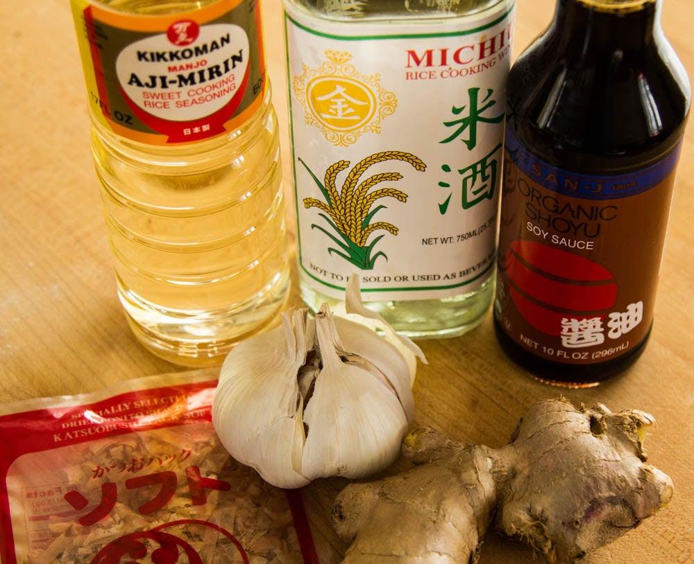 sake mirin and soy sauce ingredients for ramen