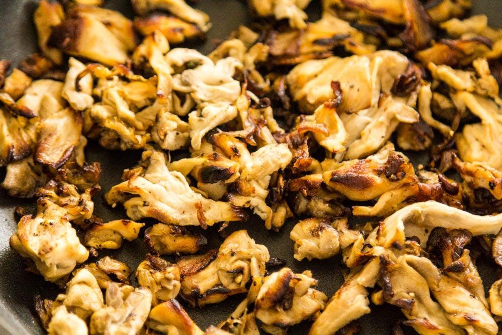 mushrooms tossed in sunflower oil