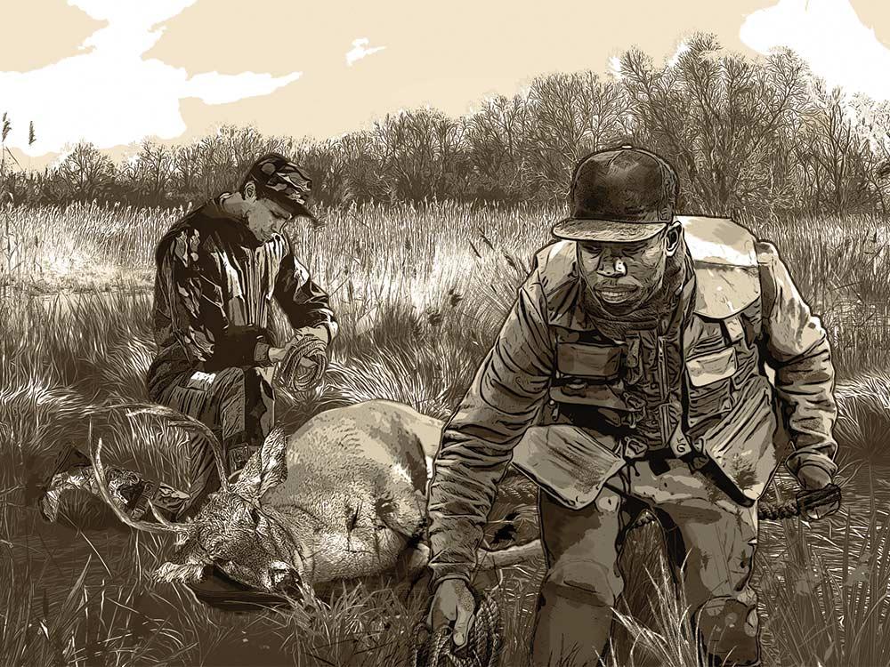 illustration of two hunters kneeling beside a deer