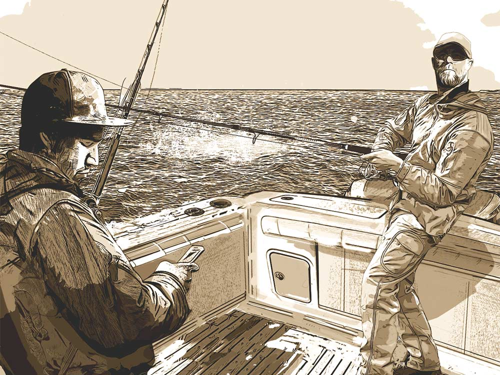 illustration of anglers on a boat deck