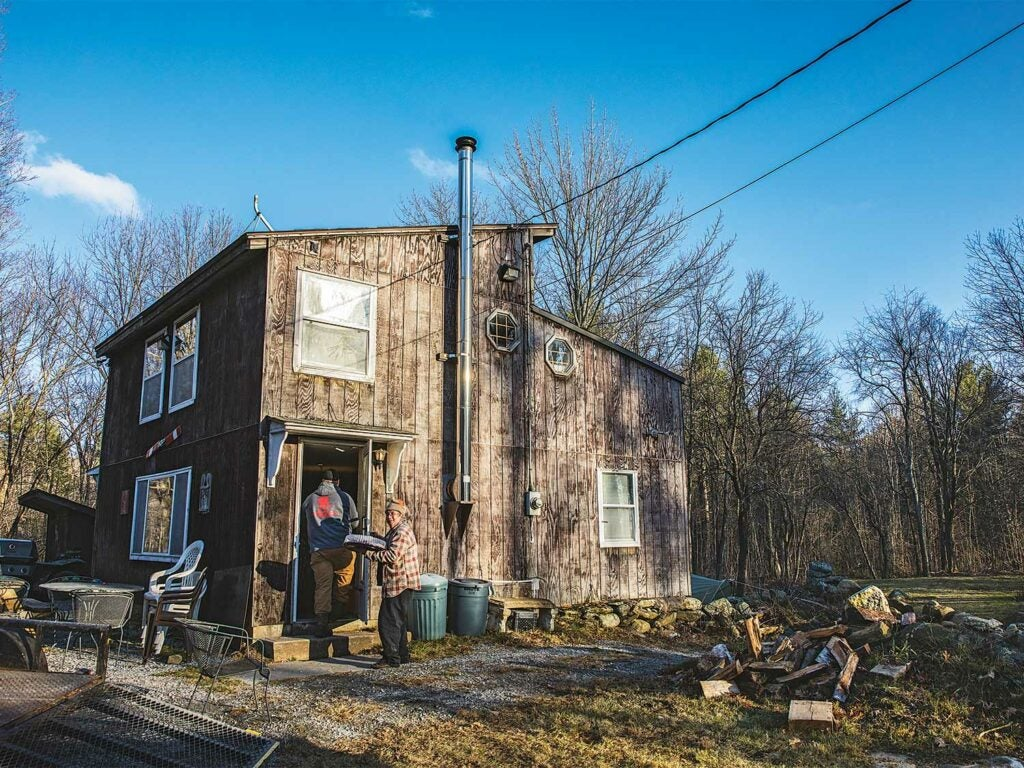 a new england deer camp during daytime