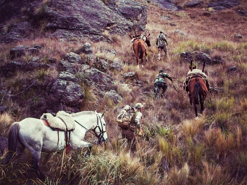hunters horseback hunting through argentina hillside