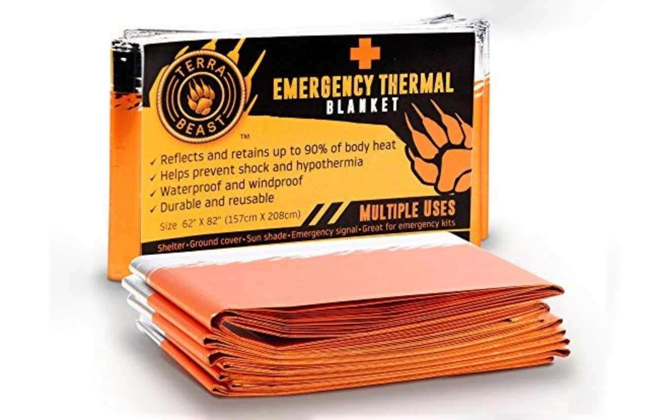 an orange emergency thermal blanket