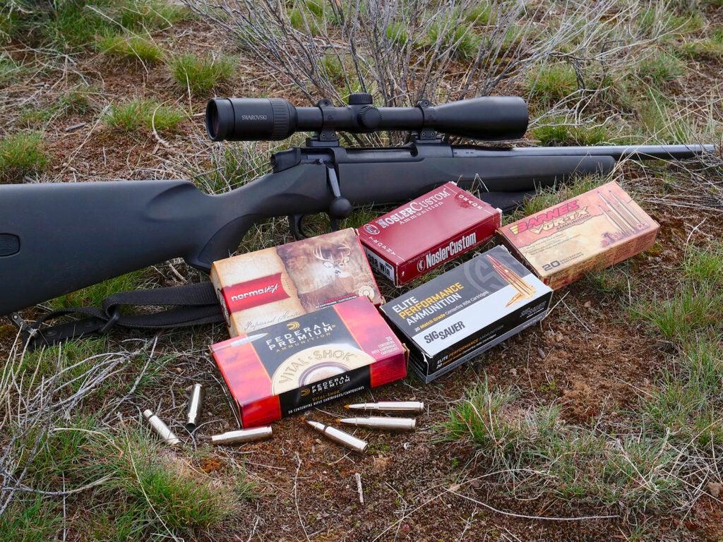 variety of ammunition on the gorund next to rifle