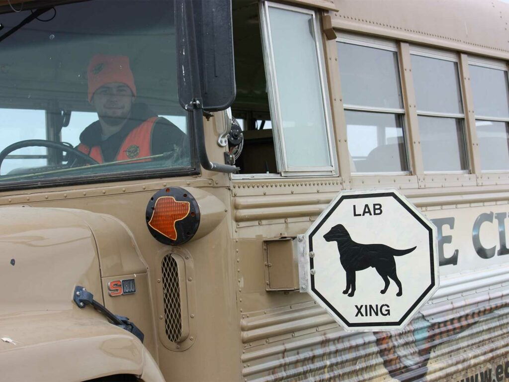 school bus converted into hunting bus