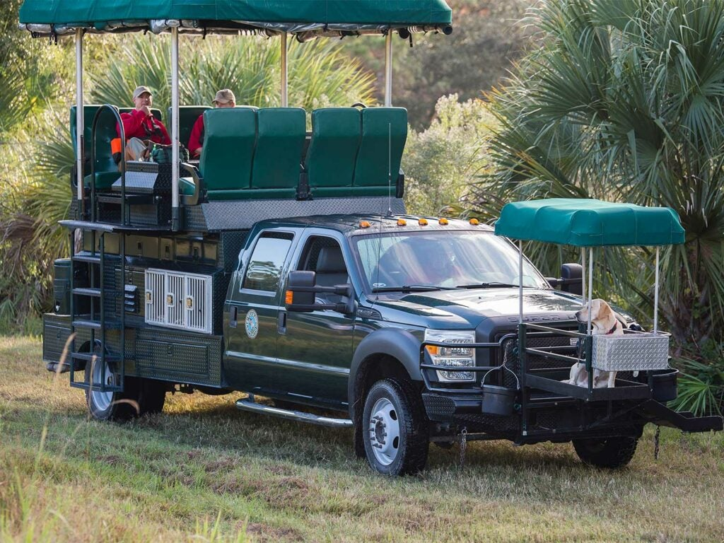 a custom hunting truck with additions built on