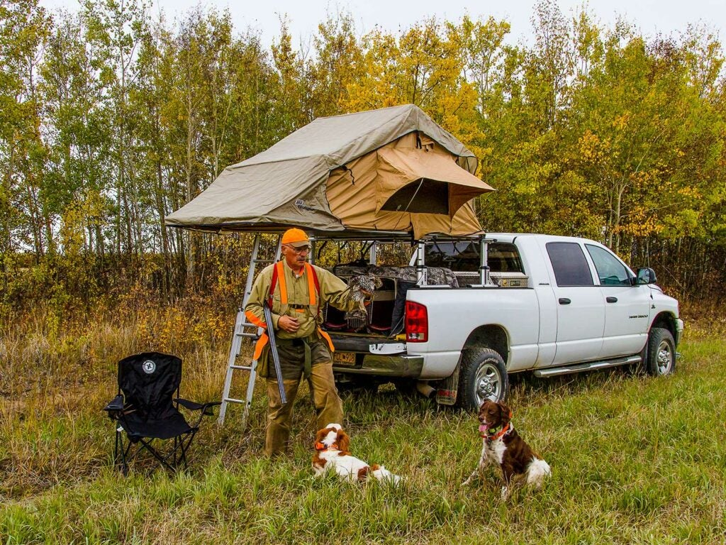man with hunting dogs next to a truck and tent