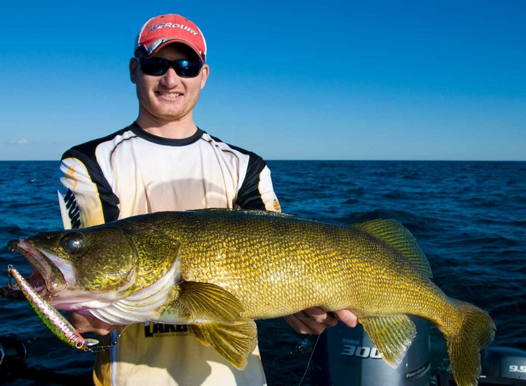 Ross Robertson with a giant Lake Erie walleye.