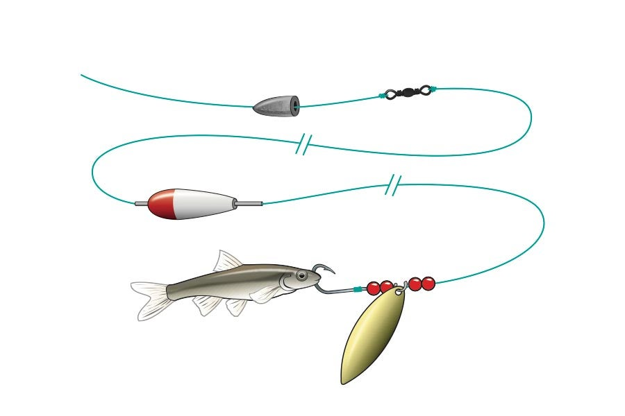 spin to win bait fishing rig