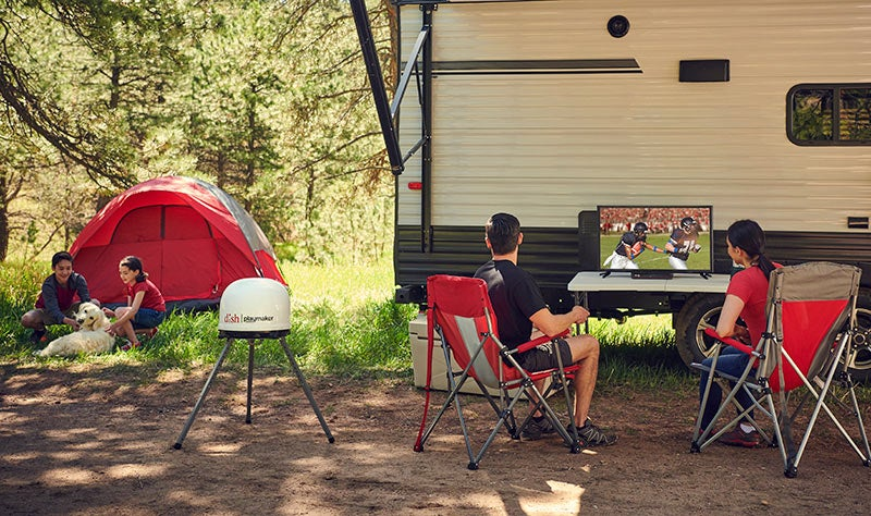 camping trip with dish outdoors