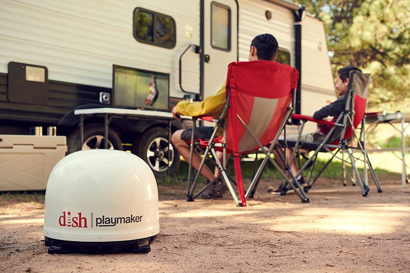 dish playmaker on a camping trip