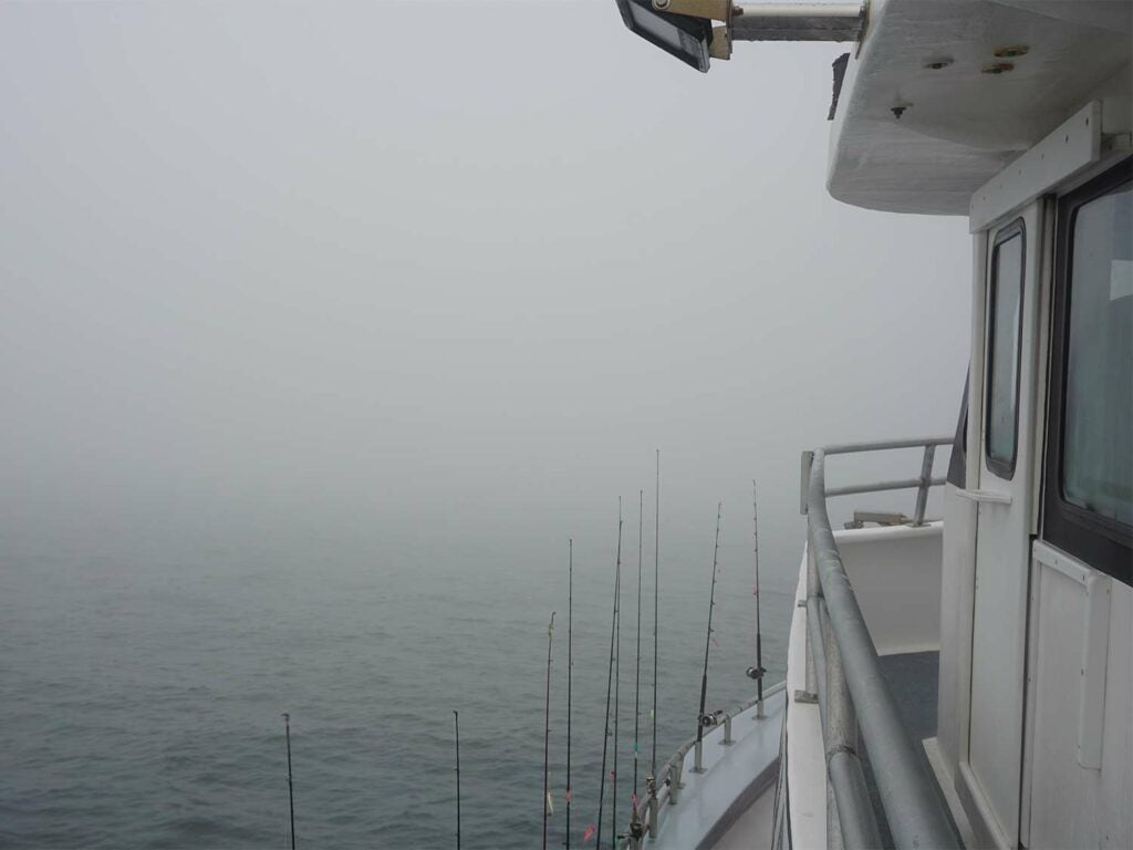 the long island sound filled with fog