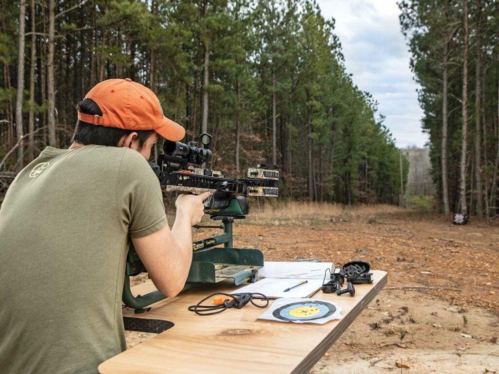 Alex Robinson testing crossbows