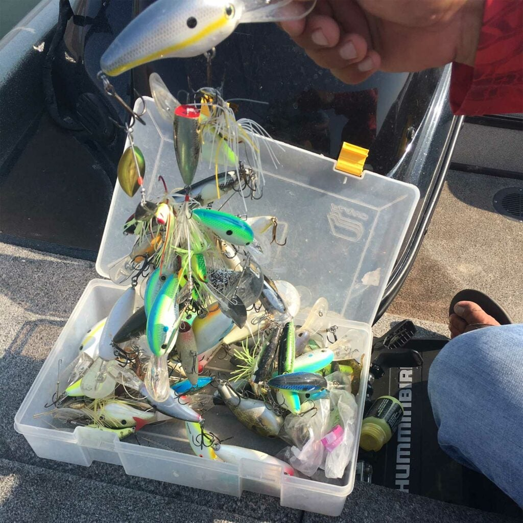 a tangle of bass fishing lures