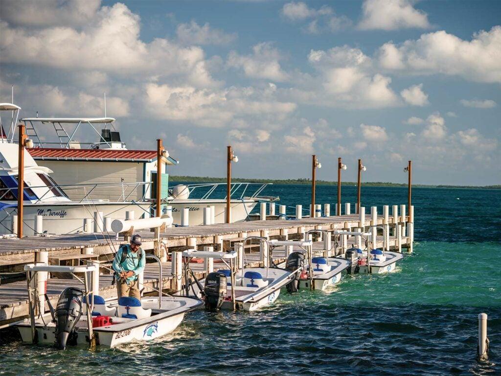 a marina dock with skiffs at Turneffe Flats