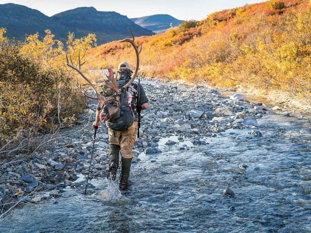 hunter hiking through small stream in Alaska