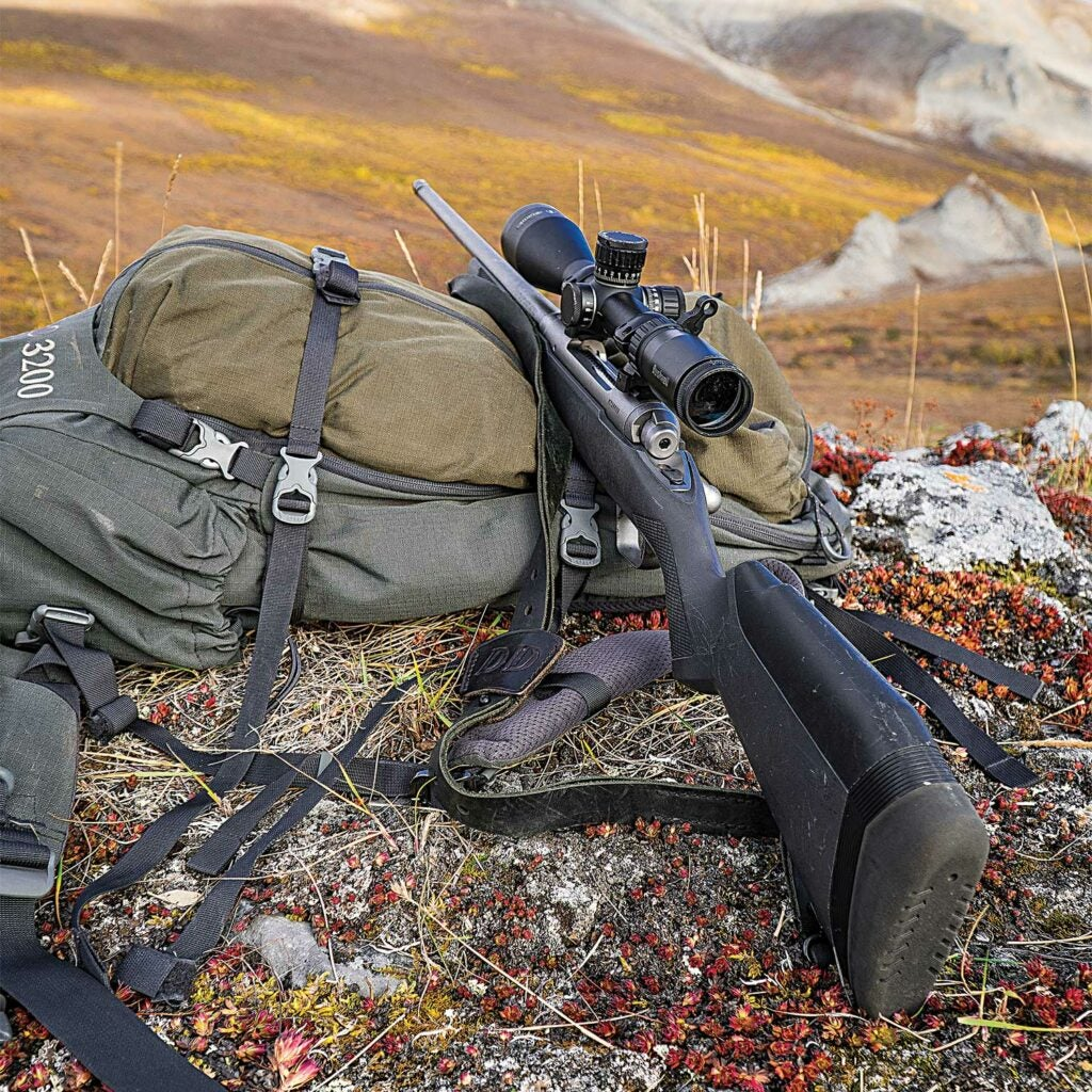 a rifle leaning against a backpack in the Alaskan wilderness