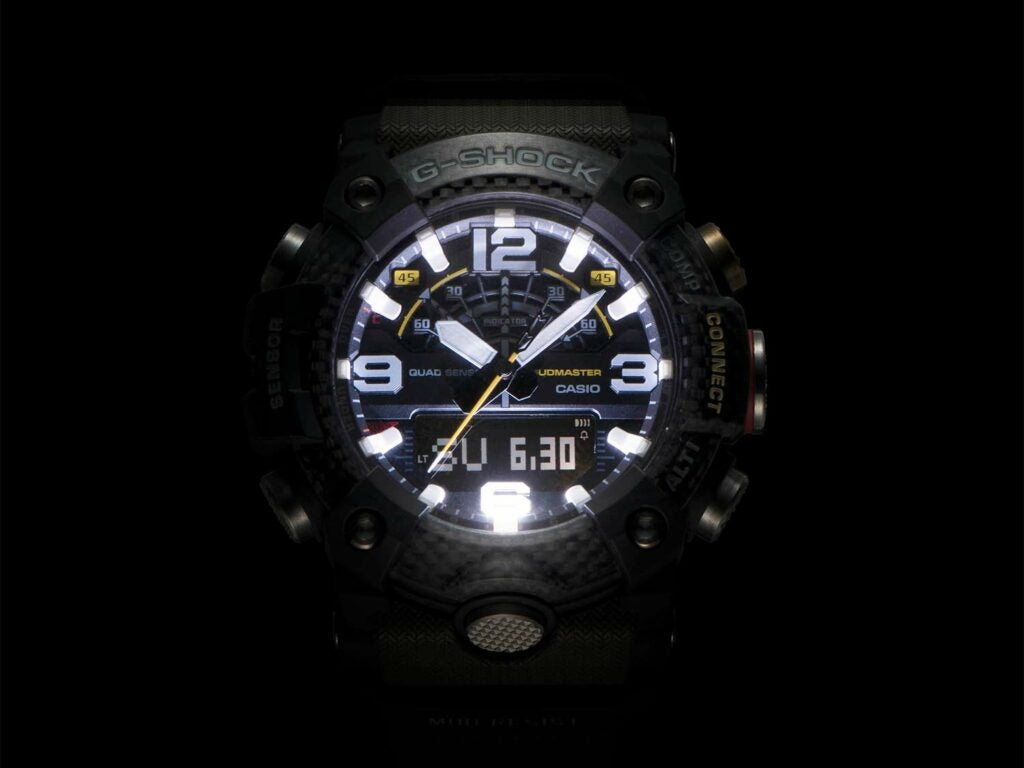 night time light up display of casio gshock watch