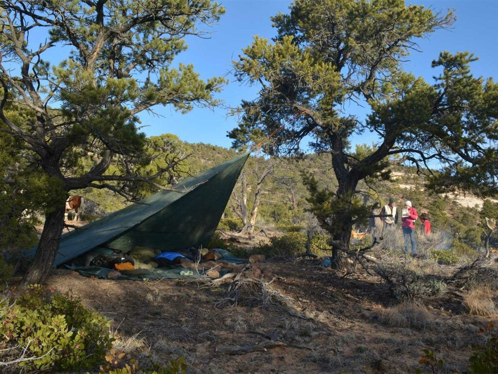 a backcountry hunting camp with a tarp