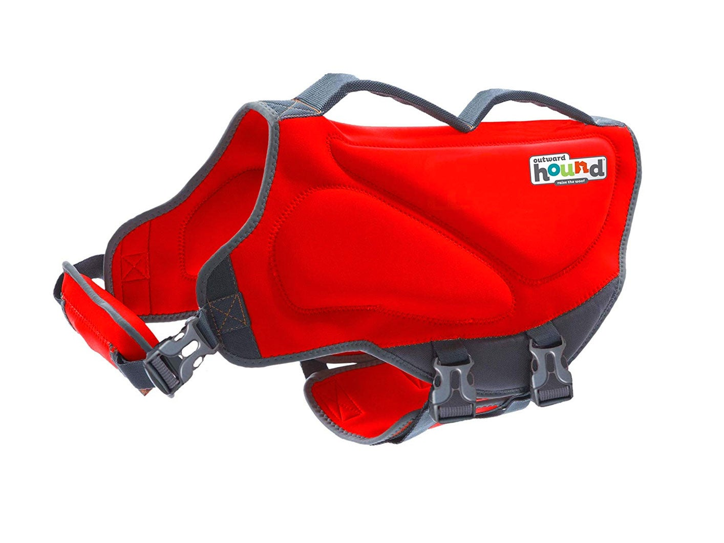 Outward Bound red doggie lifevest with handles