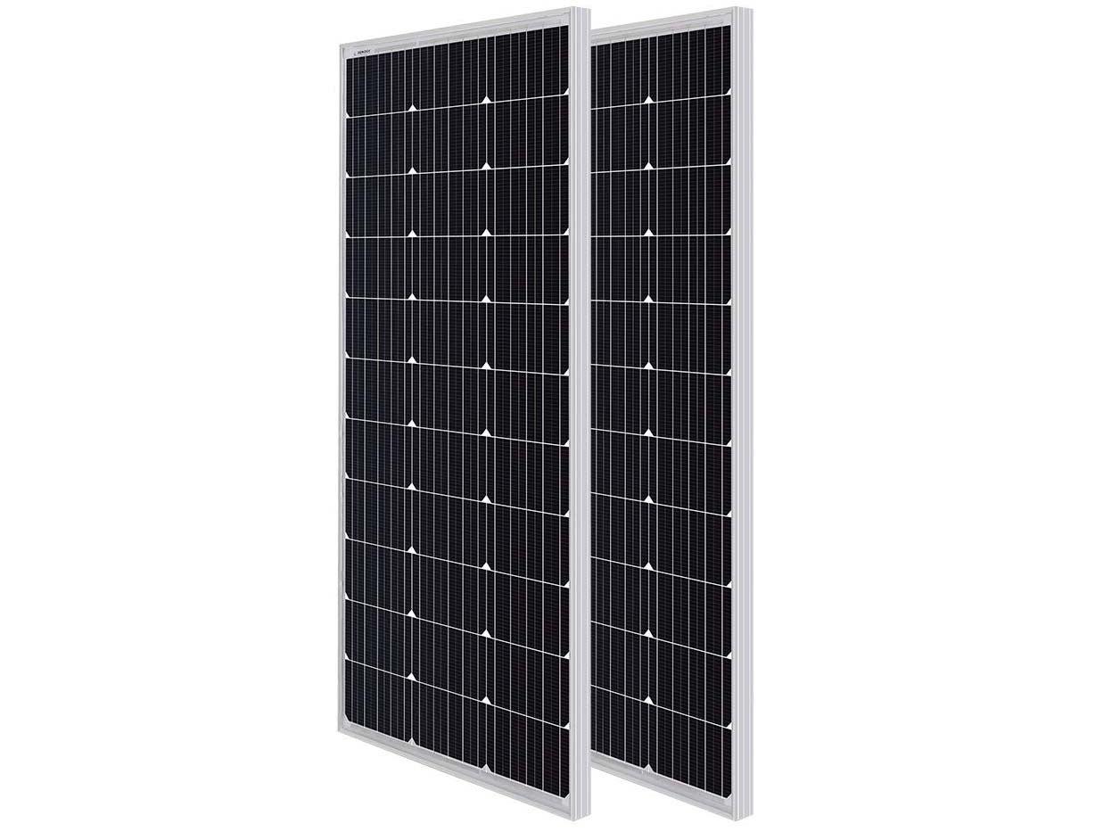 Renogy 2pcs 100 Watt 12 Volt Monocrystalline Solar Panel