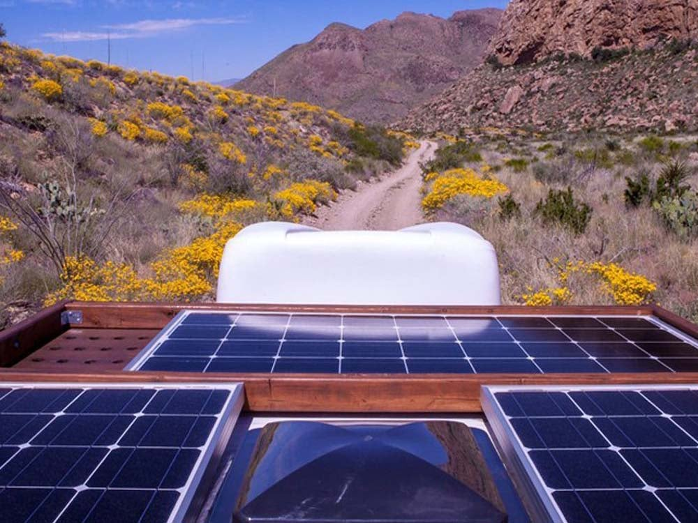 Solar Panel with flowers in background